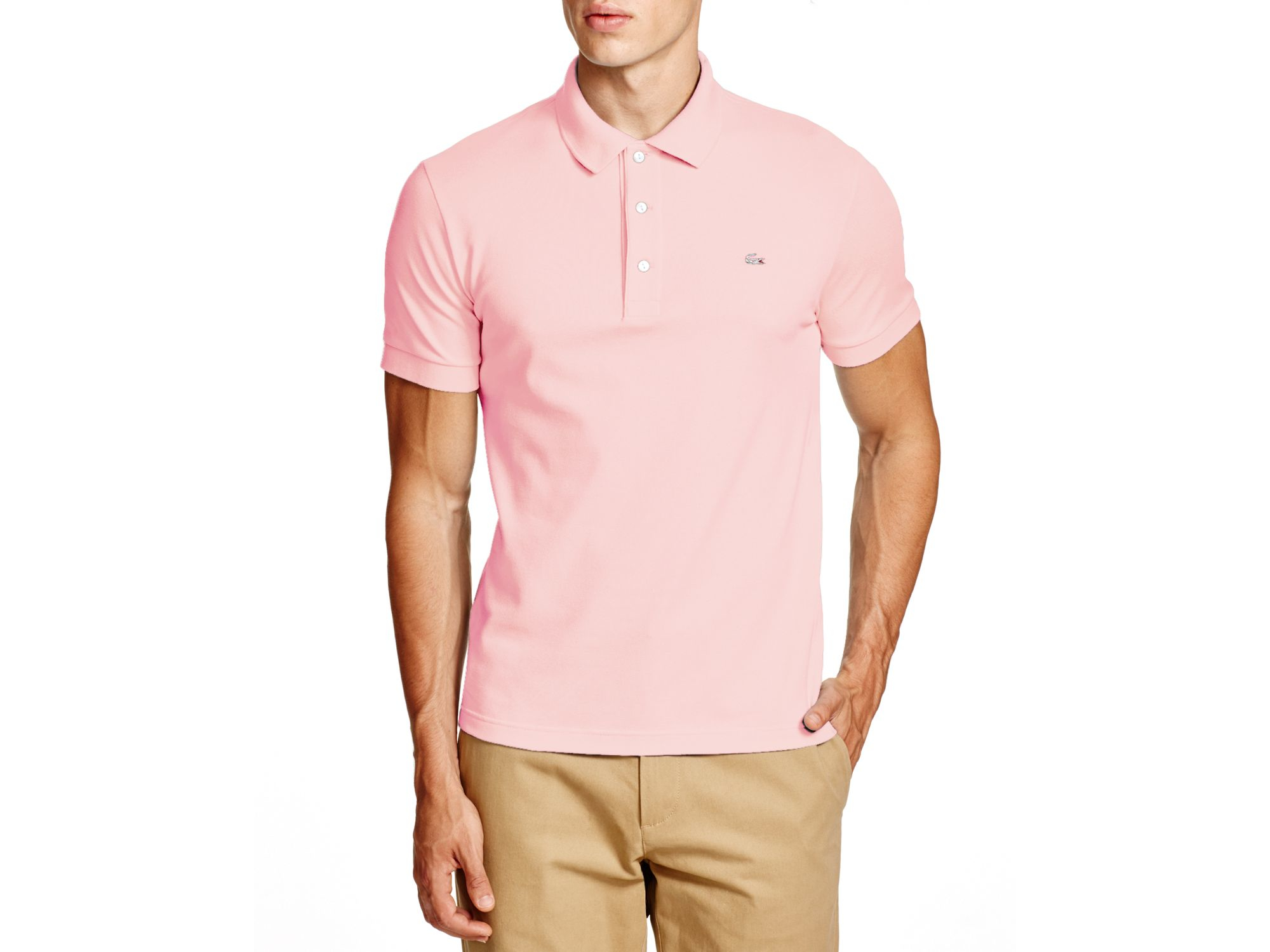 lacoste stretch slim fit polo in pink for men lyst. Black Bedroom Furniture Sets. Home Design Ideas