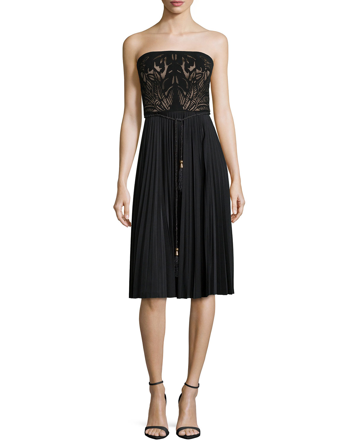 catherine deane strapless combo belted cocktail dress in