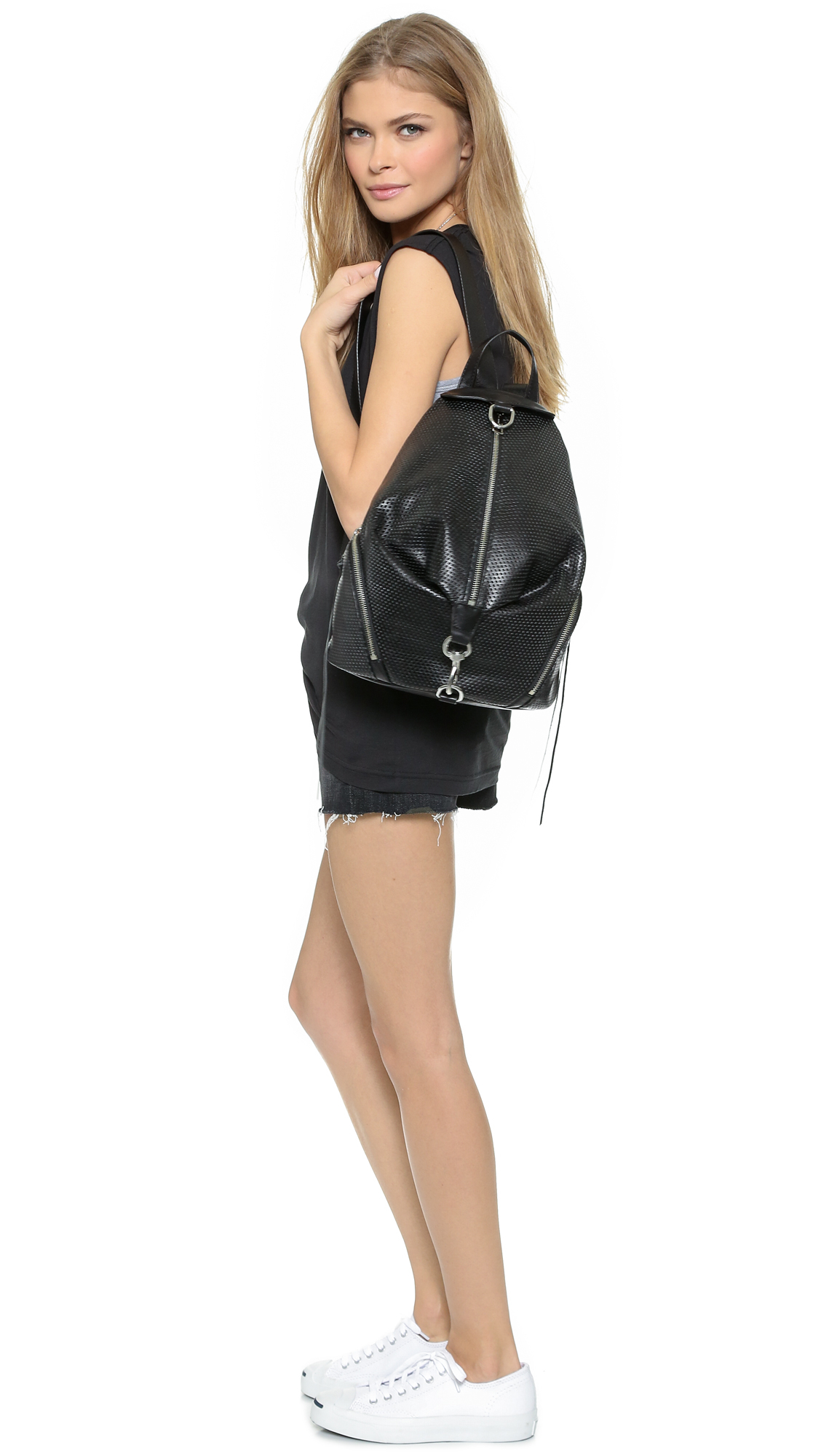 75a4ede4ed0 Rebecca Minkoff Perforated Julian Backpack - Black in Gray - Lyst