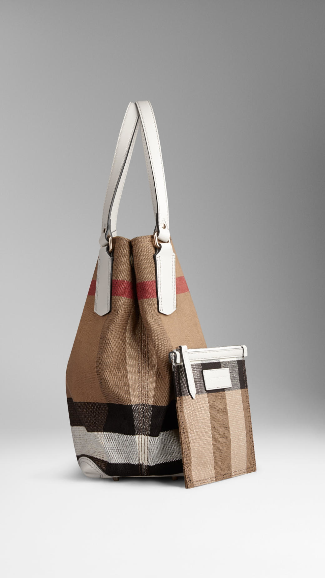d1bf933182fd Lyst - Burberry Medium Canvas Check Tote Bag in White