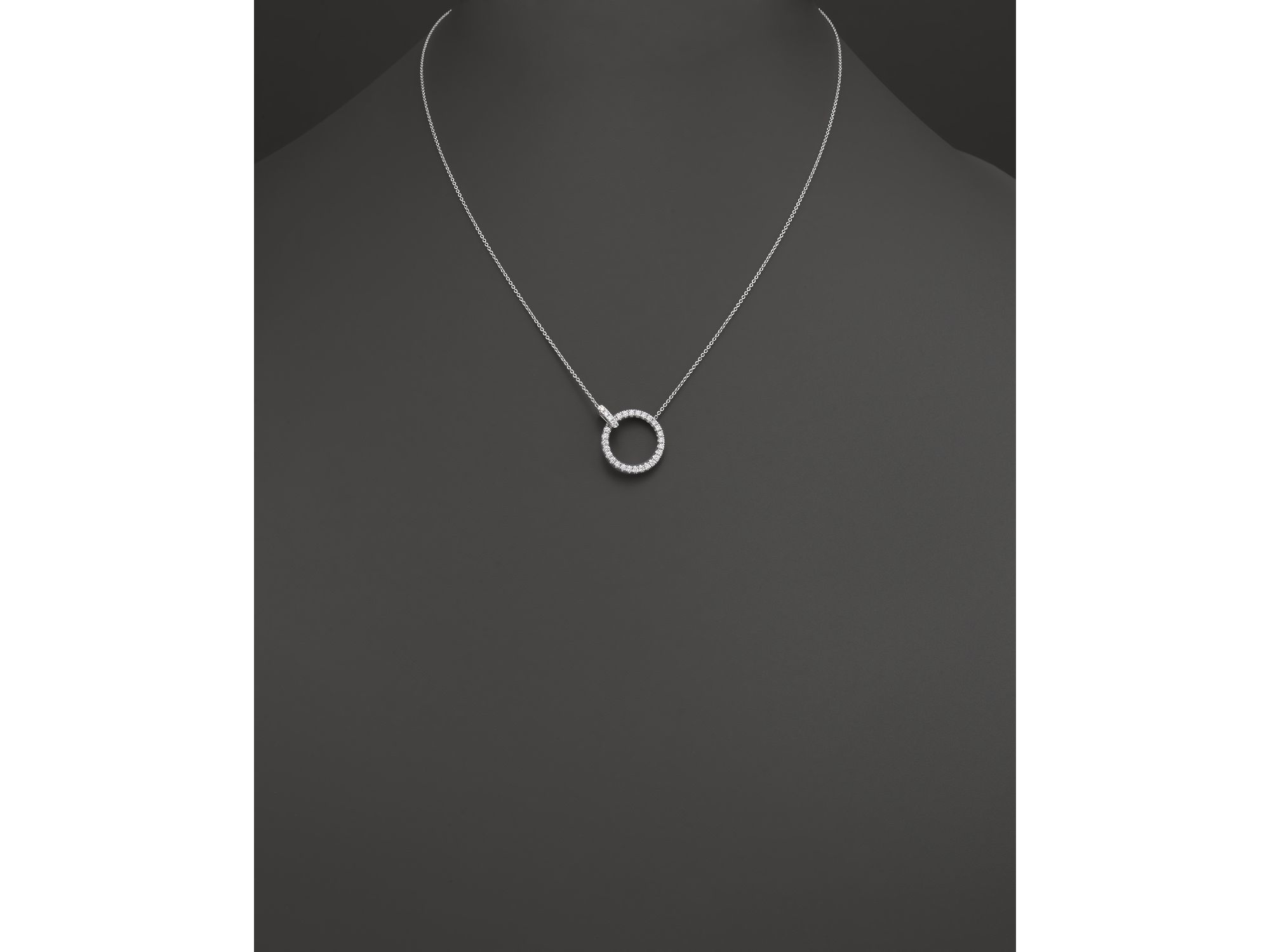 Lyst roberto coin 18k white gold diamond circle pendant necklace gallery previously sold at bloomingdales womens circle necklaces aloadofball Image collections
