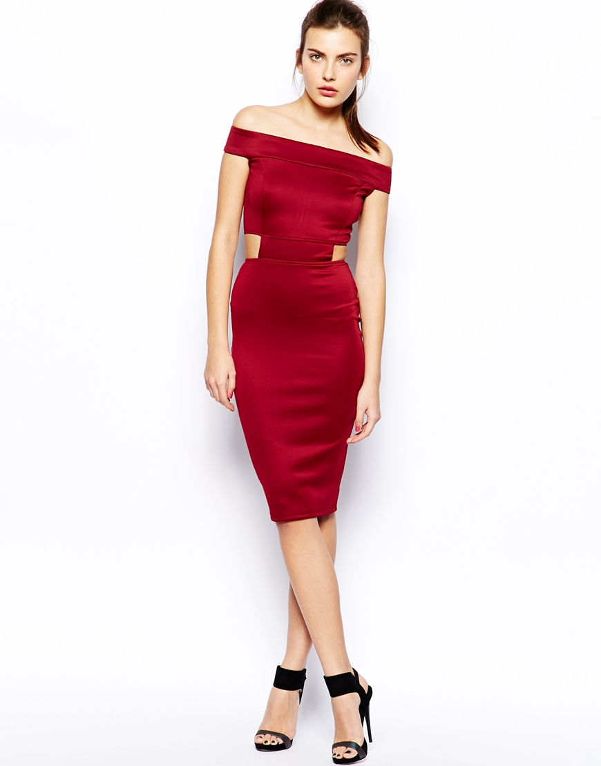 Lyst - Ax Paris Off Shoulder Midi Dress With Cutouts In Red
