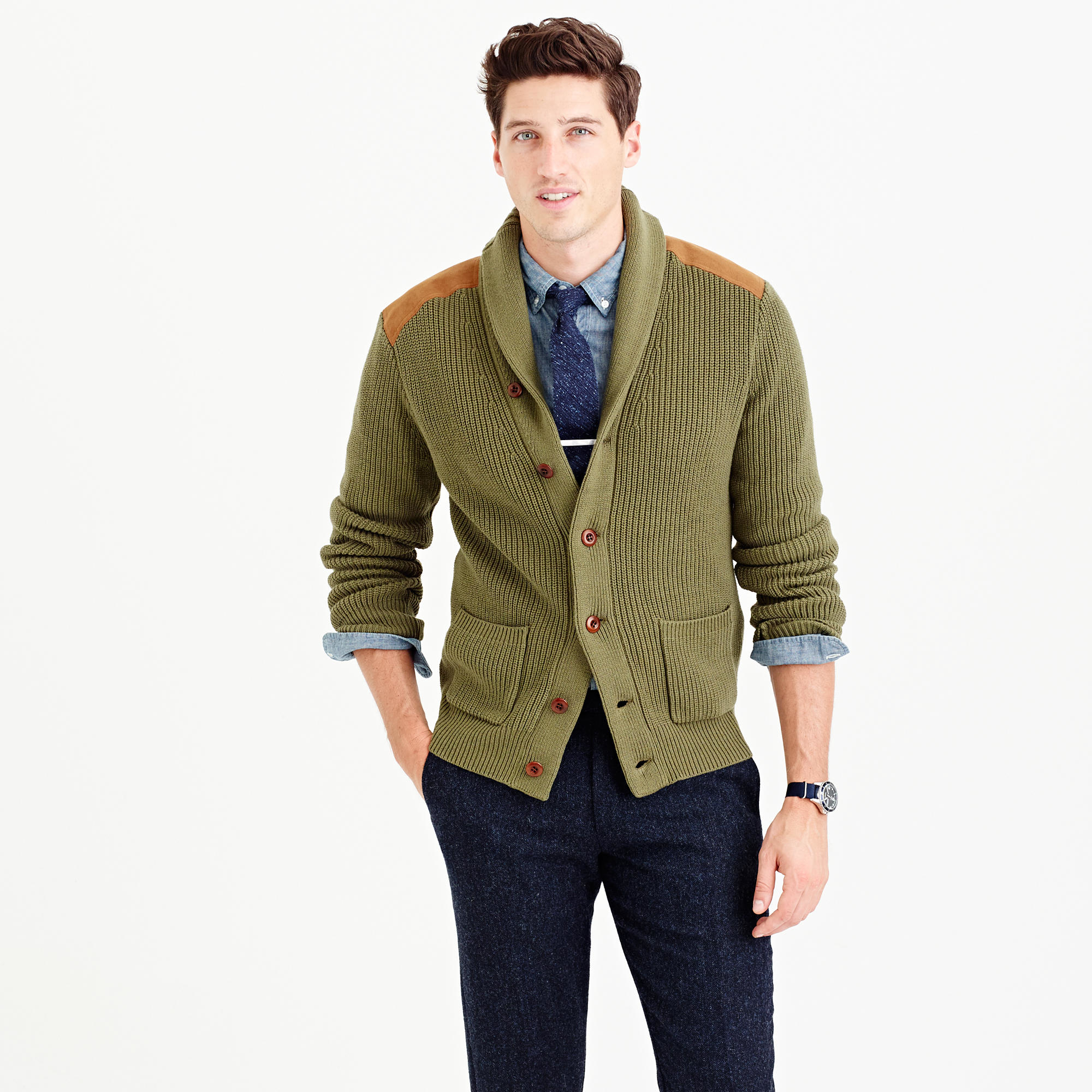 Lyst J Crew Woodsman Cardigan Sweater In Green For Men