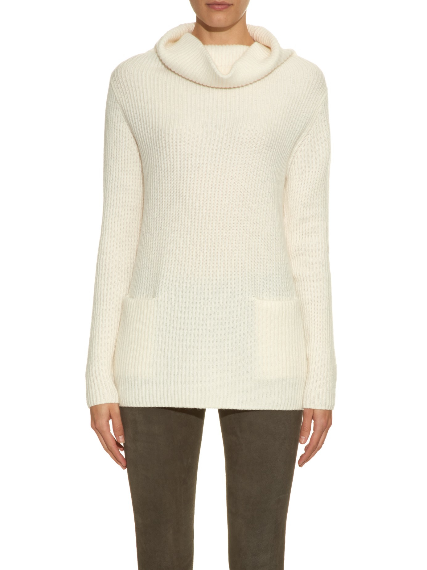 Vince Roll-neck Ribbed-knit Cashmere Sweater in White | Lyst