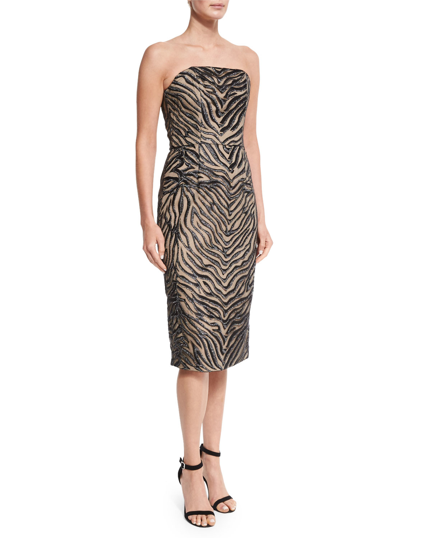 8cad41aced48f Christian Siriano - Multicolor Strapless Animal-print Sheath Dress - Lyst