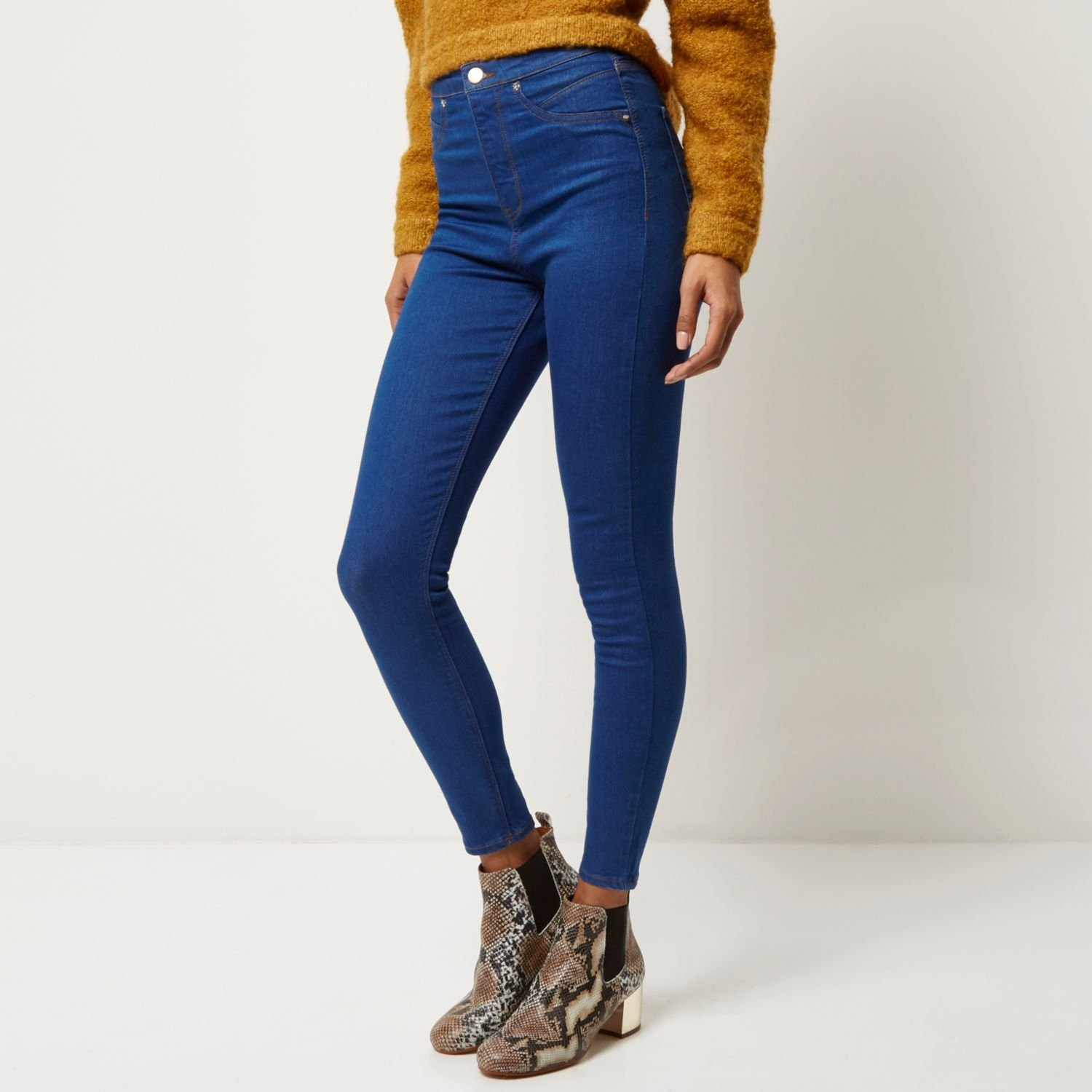12d484fe709489 River Island Mid Blue Wash High Rise Molly Jeggings in Blue - Lyst