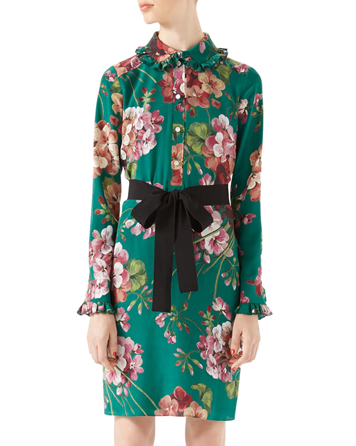 251488ba Gucci Blooms Print Silk Shirt Dress in Green - Lyst