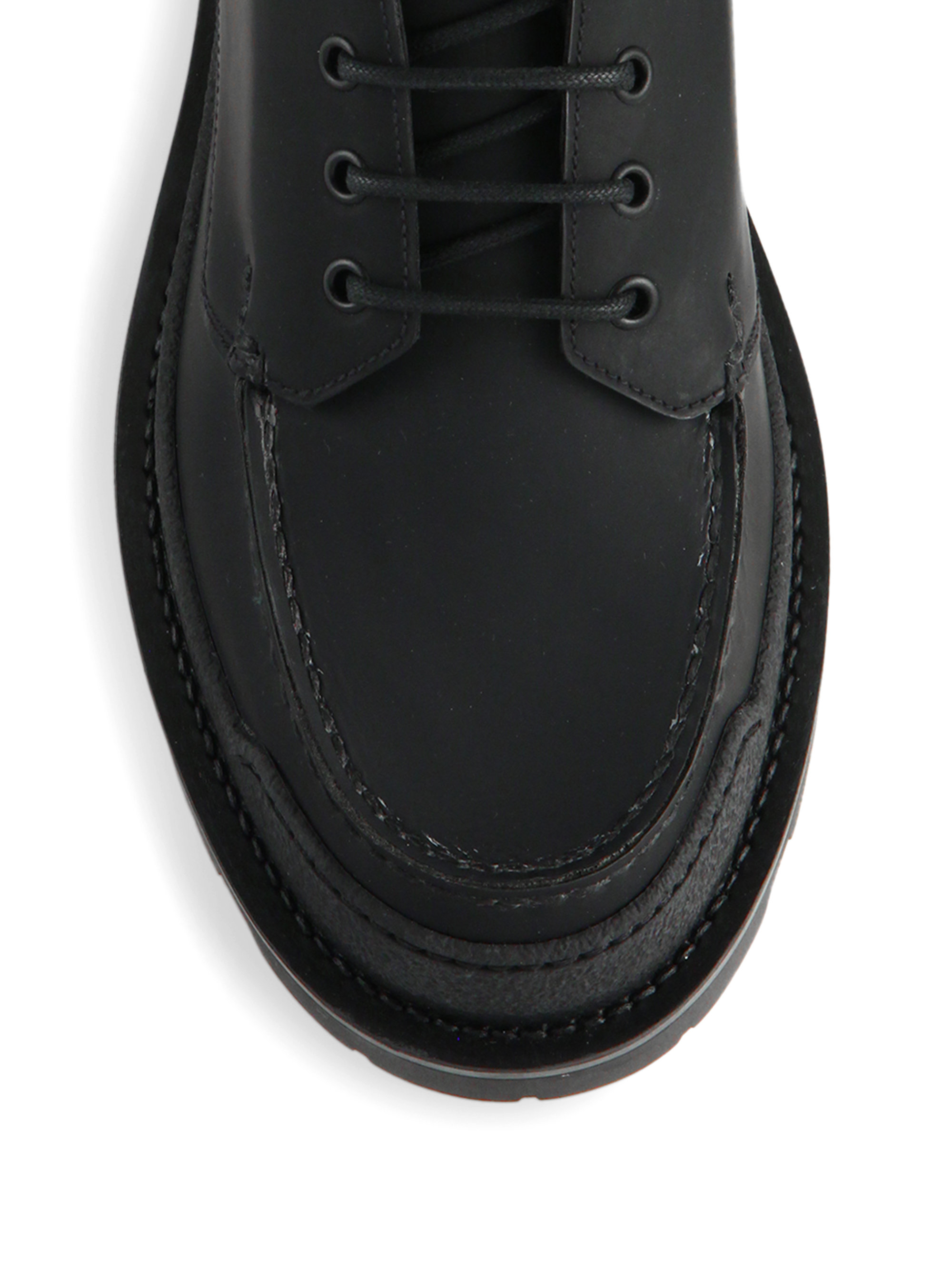Lyst Prada Lug Sole Leather Hiking Boots In Black For Men