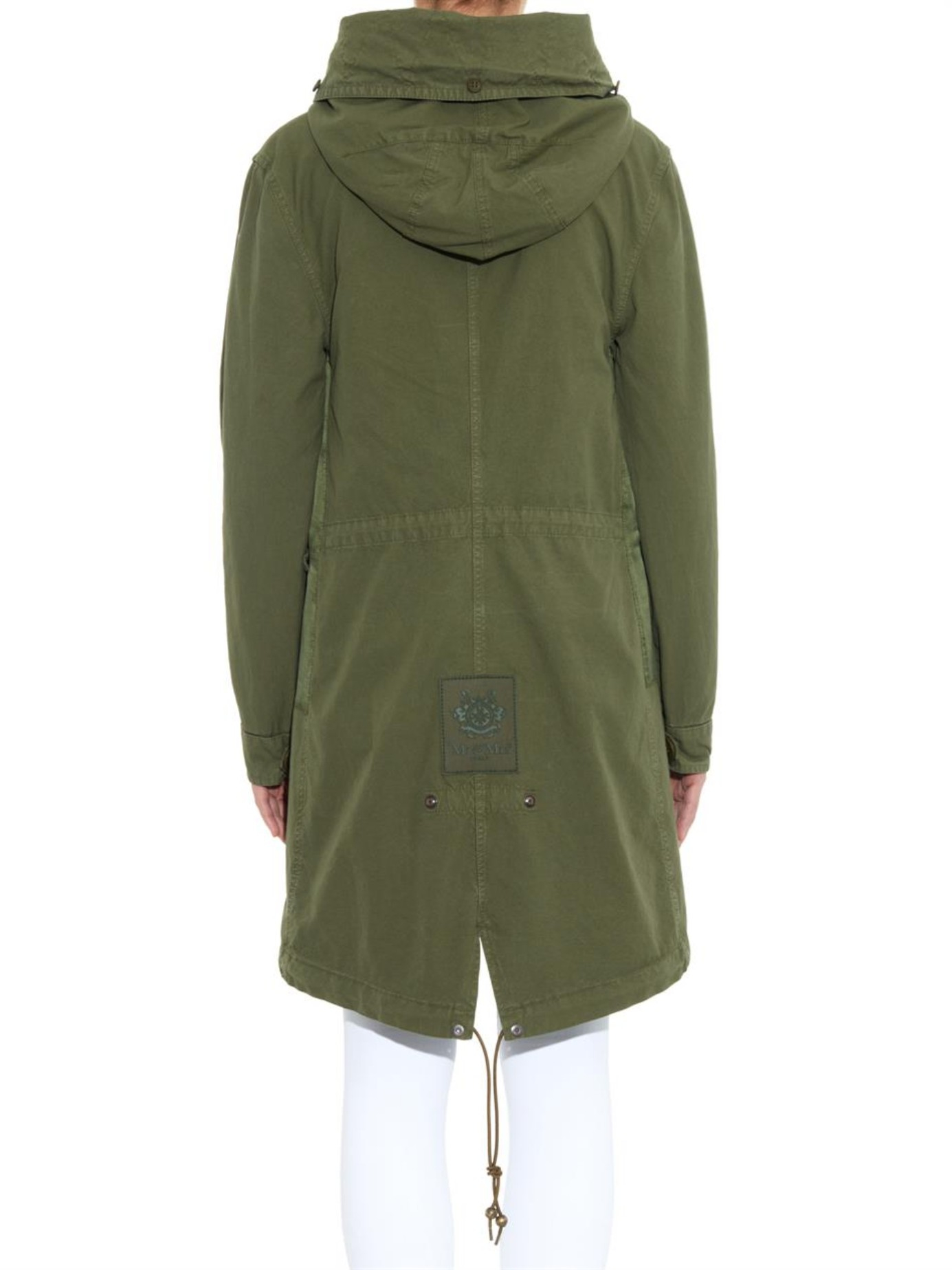 Lyst - Mr   Mrs Italy Fur-Trimmed Satin And Canvas Long Parka in Green dd96da6e92f9