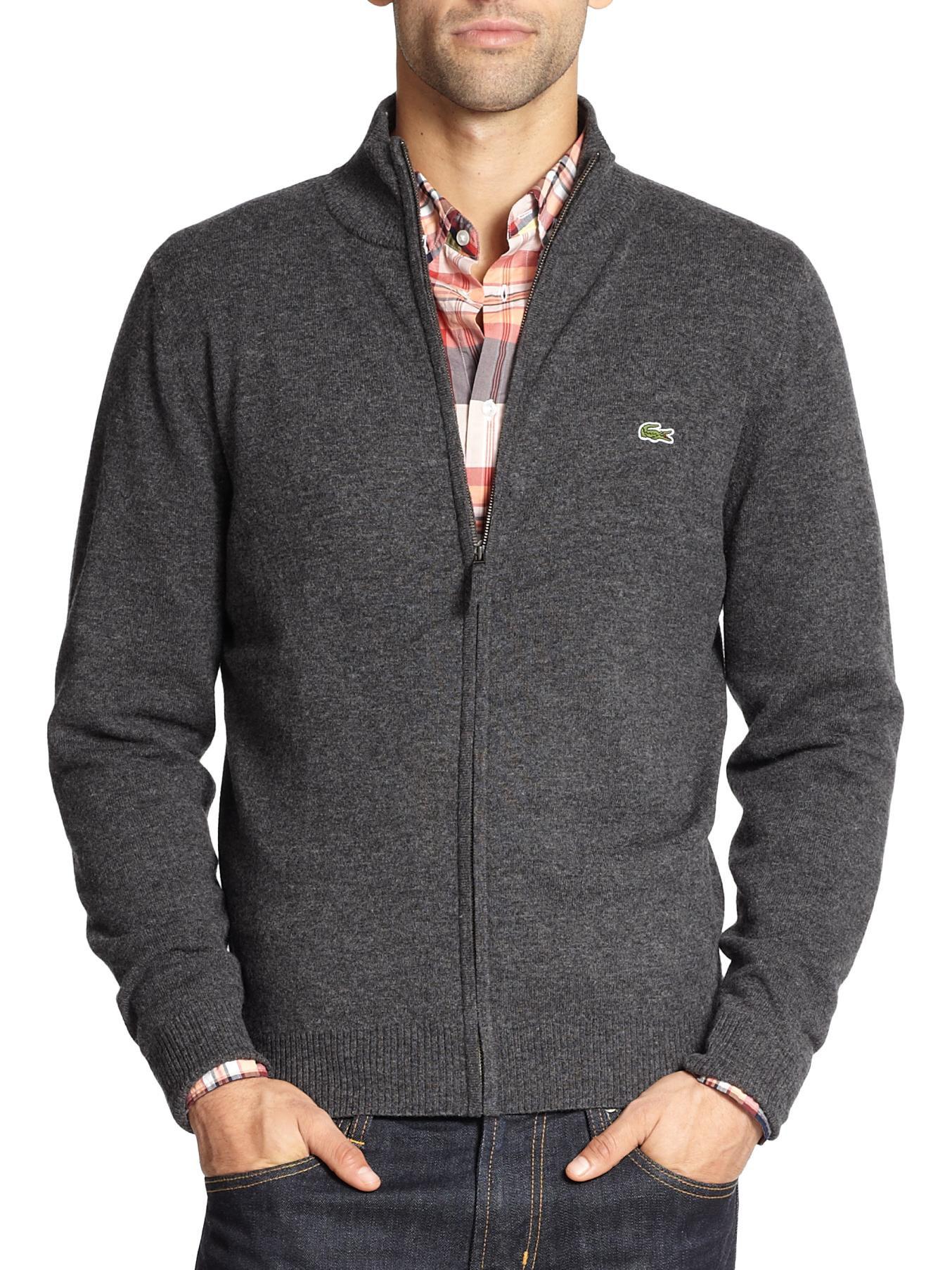 Lyst Lacoste Wool Zip Sweater In Gray For Men