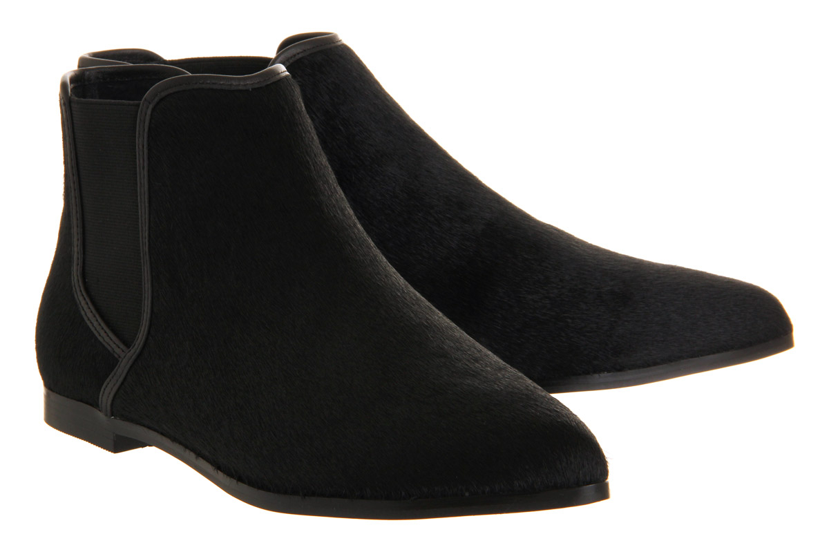 office cat pointy flat ankle boots in black lyst