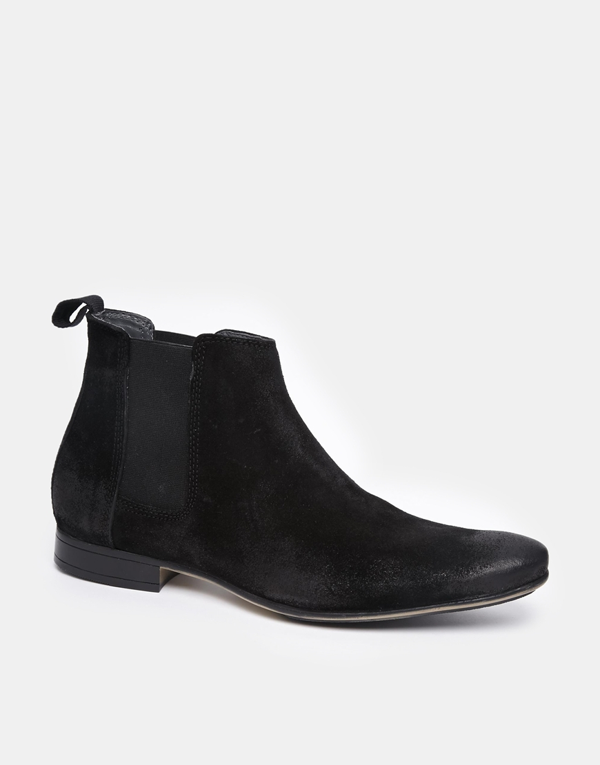 frank wright suede chelsea boots in black for lyst