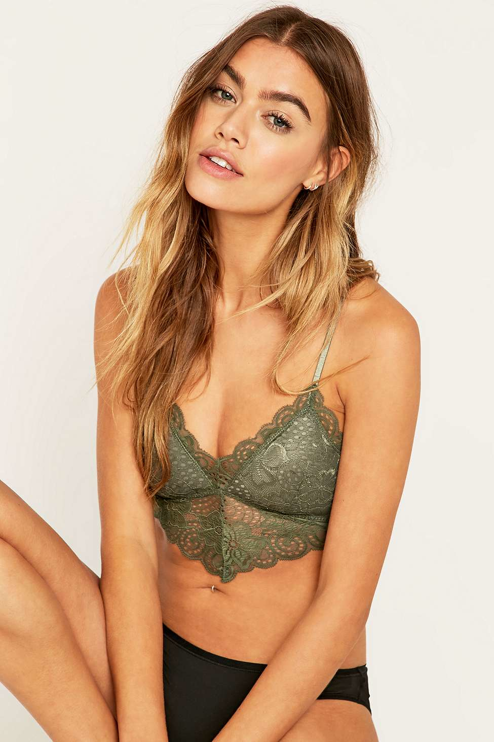 9ec4bf9256fc0 Urban Outfitters Ina Caged Back Olive Lace Bra in Green - Lyst