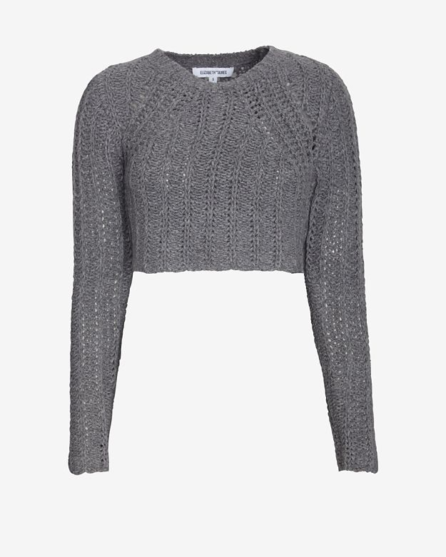 Elizabeth and james Super Cropped Textured Sweater in Gray | Lyst
