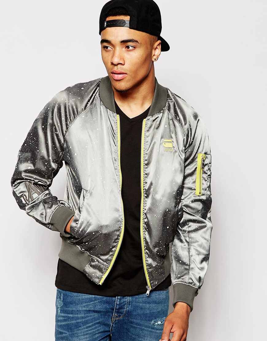 g star raw bomber jacket splatter bowl sateen in gray for men lyst. Black Bedroom Furniture Sets. Home Design Ideas