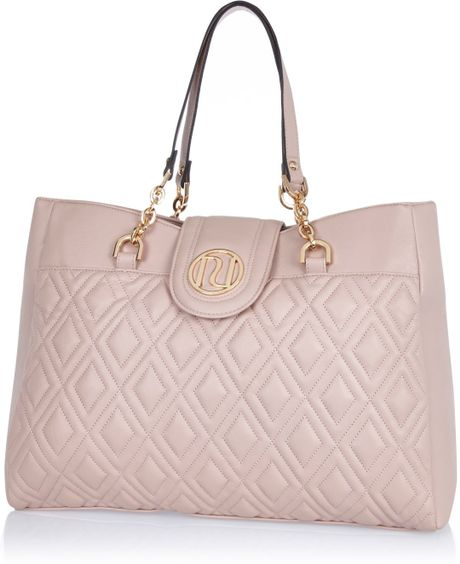 river island light pink quilted chain strap tote bag in pink lyst. Black Bedroom Furniture Sets. Home Design Ideas