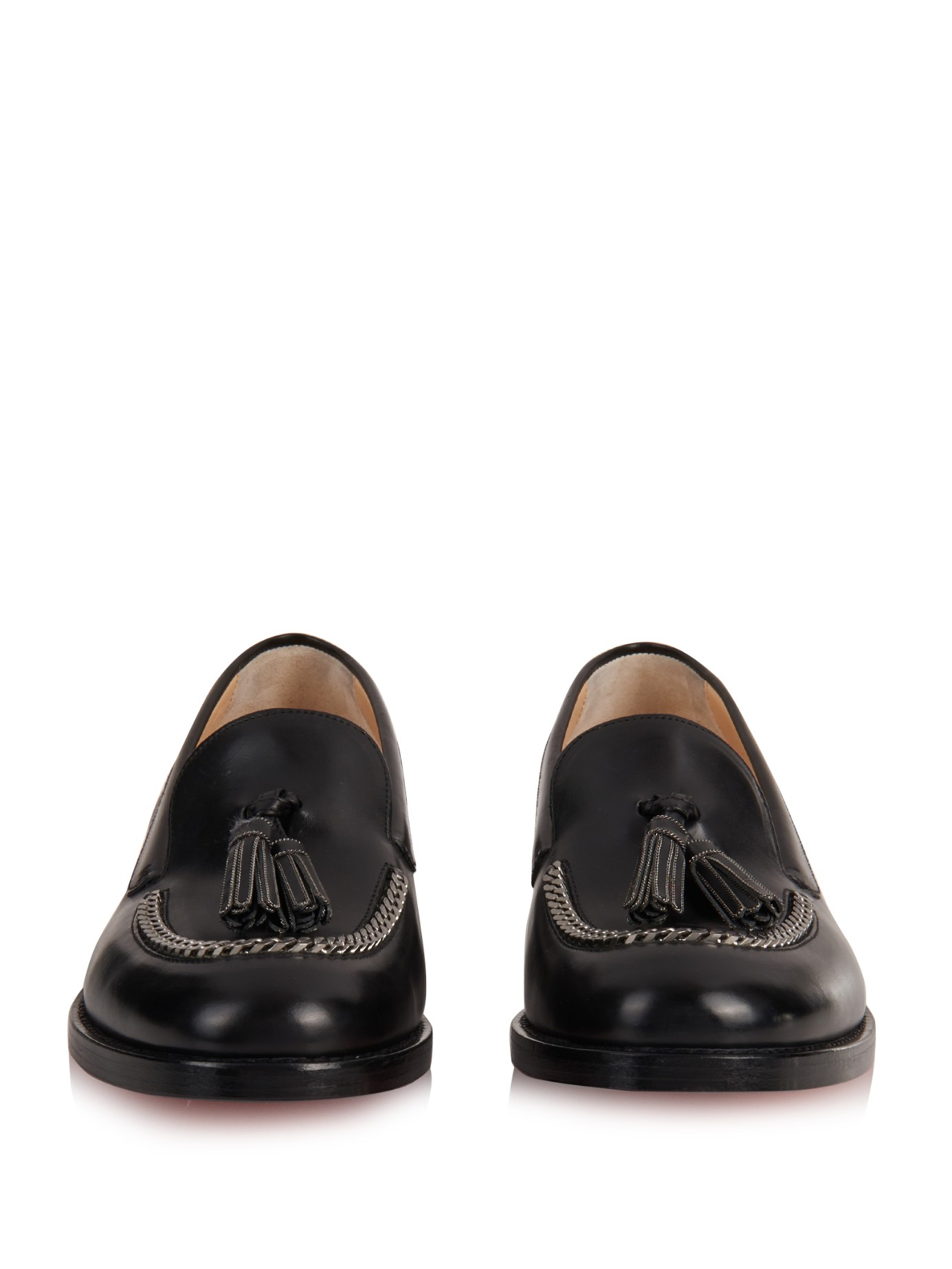 shoes replica usa - christian louboutin loafers Black leather leather tassels | The ...