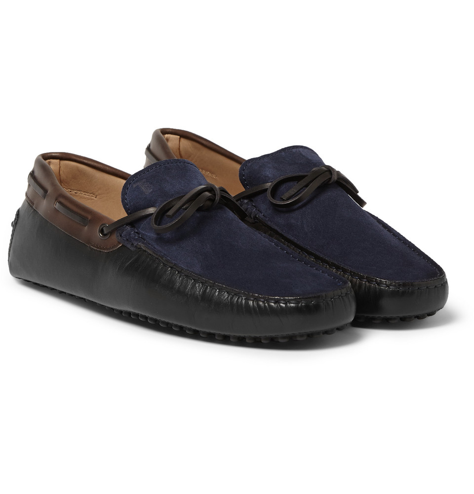tod s gommino suede and leather driving shoes in black for