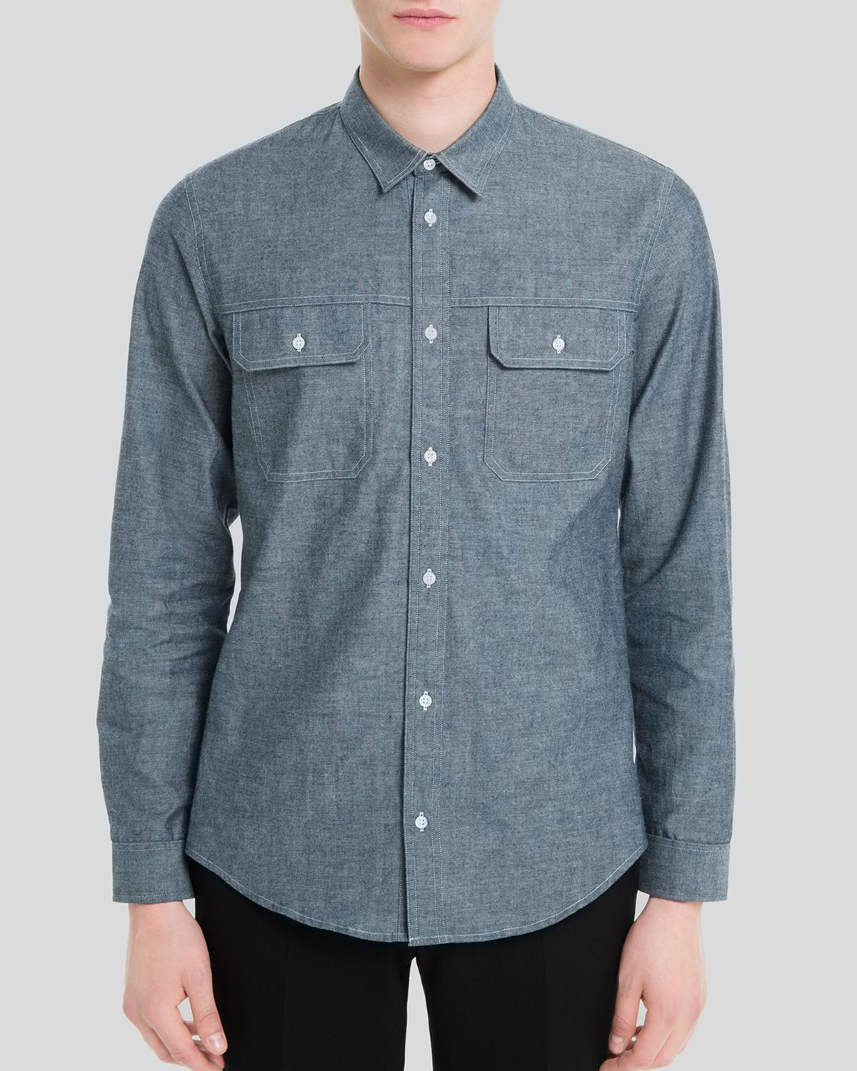 Lyst Sandro Worker Chambray Button Down Shirt Slim Fit