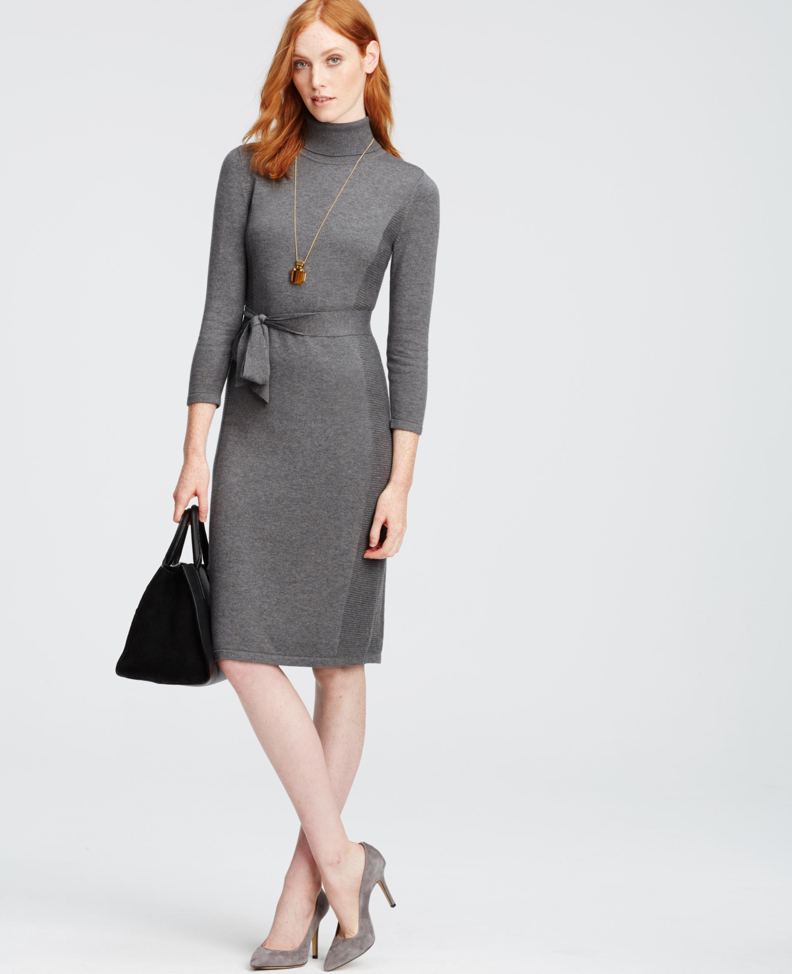003656a1ef12 Lyst - Ann Taylor Petite Turtleneck Sweater Dress in Metallic