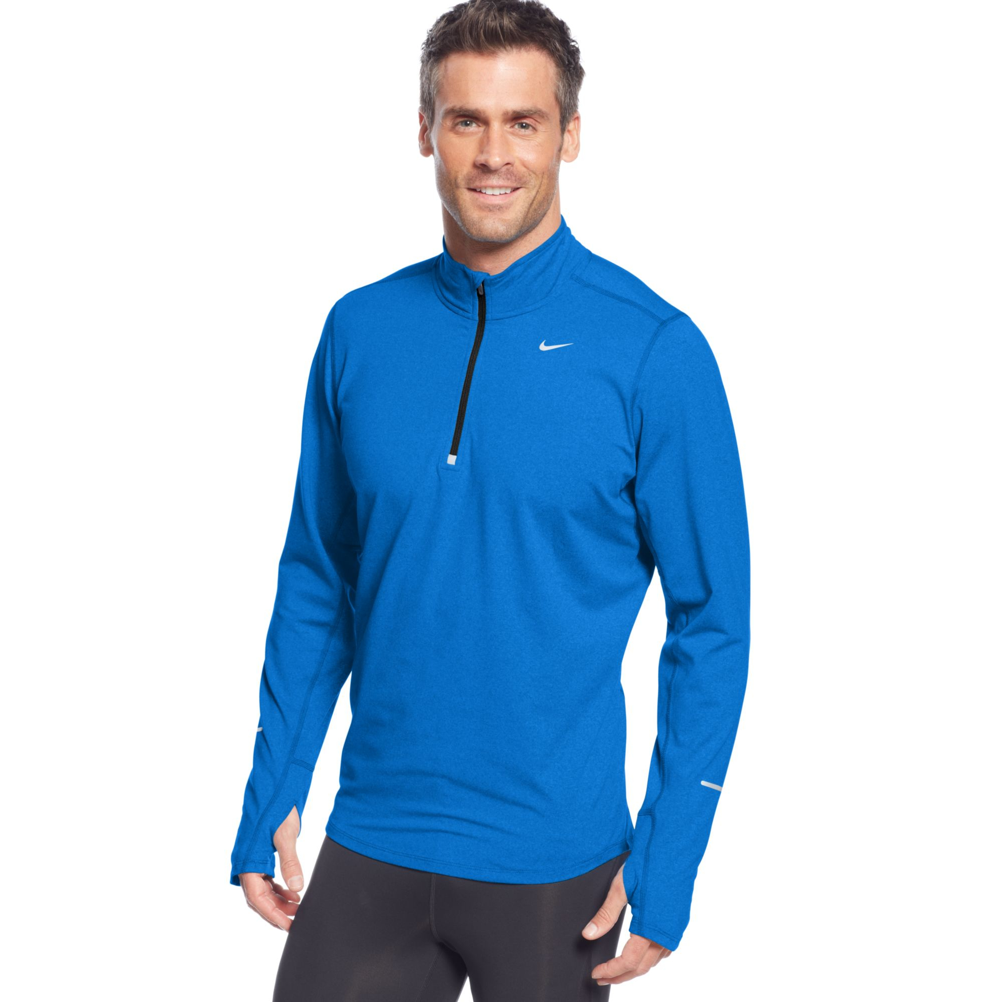 Lyst nike pullover element half zip shirt in yellow for men for Pull over shirts for mens