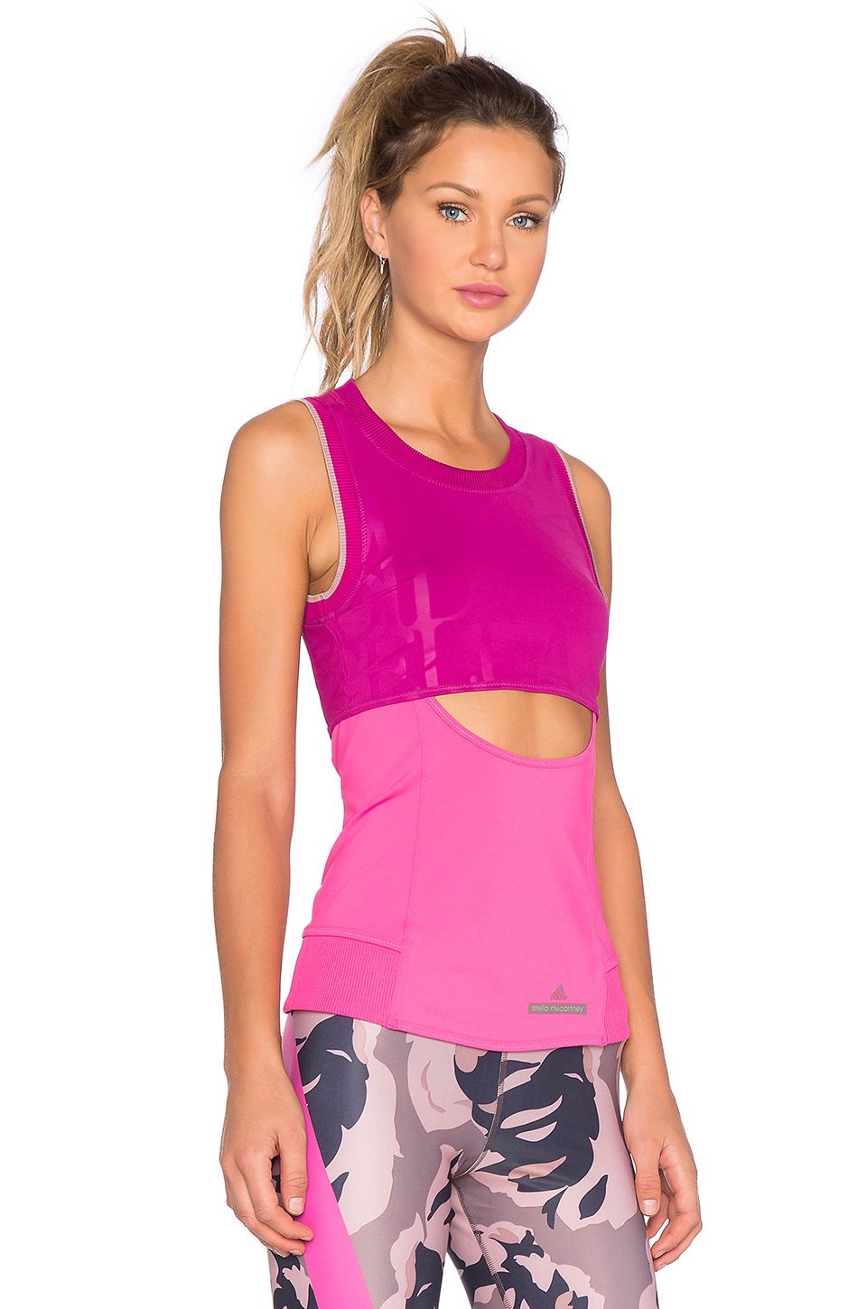 Adidas by stella mccartney climacool run perf tank in pink for Hot pink running shirt