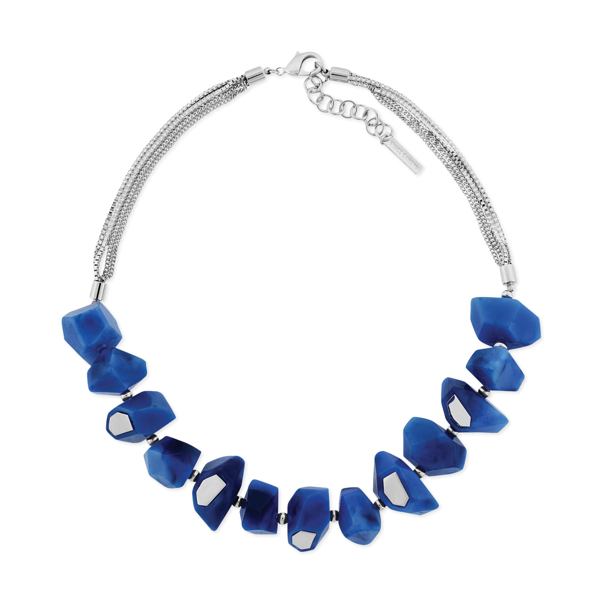 Vince camuto Silvertone Blue Resin Stone Frontal Necklace ...