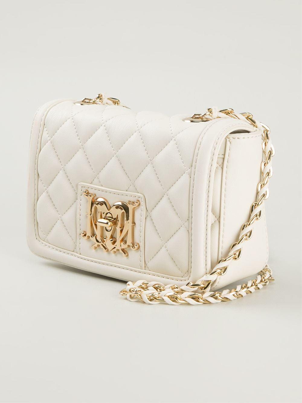 Lyst Love Moschino Quilted Leather Cross Body Bag In White