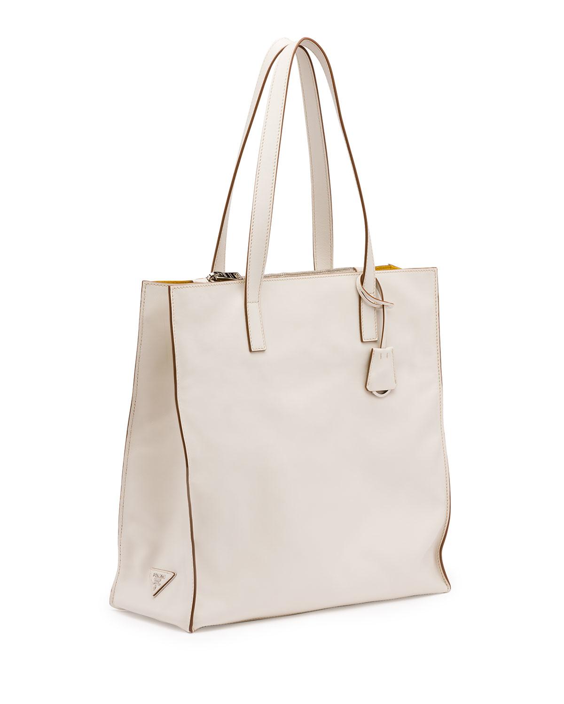 replica prada purse - Prada Soft Calfskin North-south Tote Bag in White (WHITE/YELLOW ...