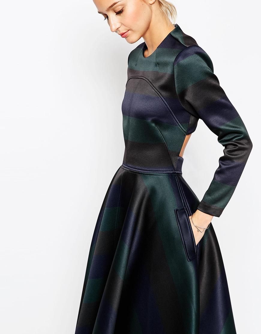 Lyst Asos White Bonded Stripe Full Skirt Dress