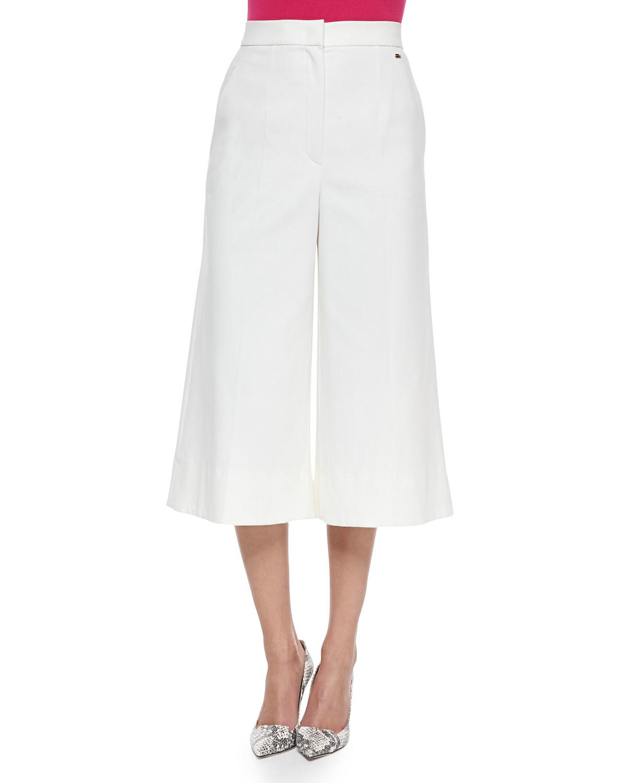Escada High-waist Stretch-cotton Gaucho Pants in White | Lyst
