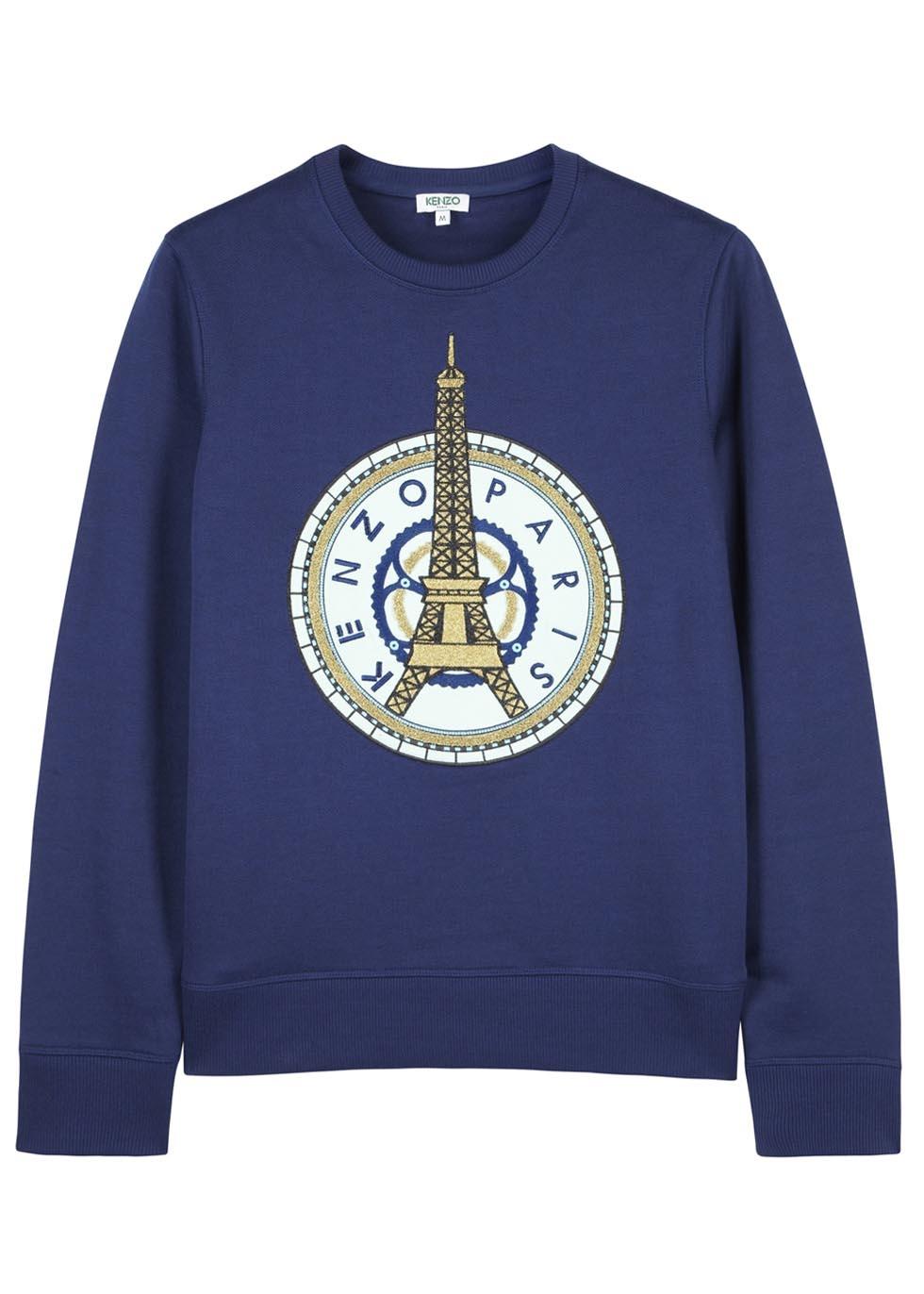 0e3dc9ac KENZO Navy Eiffel Tower Cotton Blend Sweatshirt in Blue for Men - Lyst