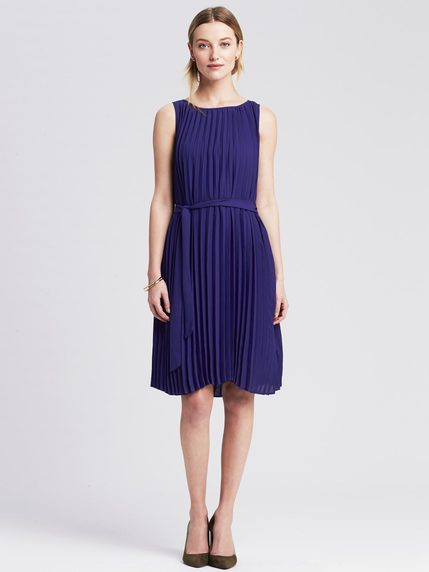 Banana Republic Pleated Tie Front Dress In Purple Royal
