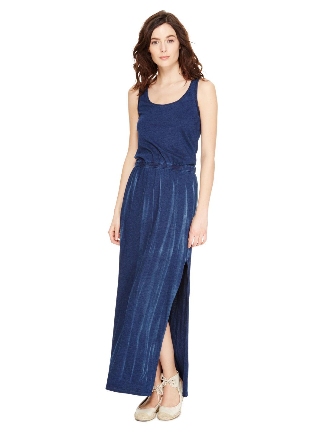 Dkny Jeans Side Slit Maxi Dress in Blue  Lyst
