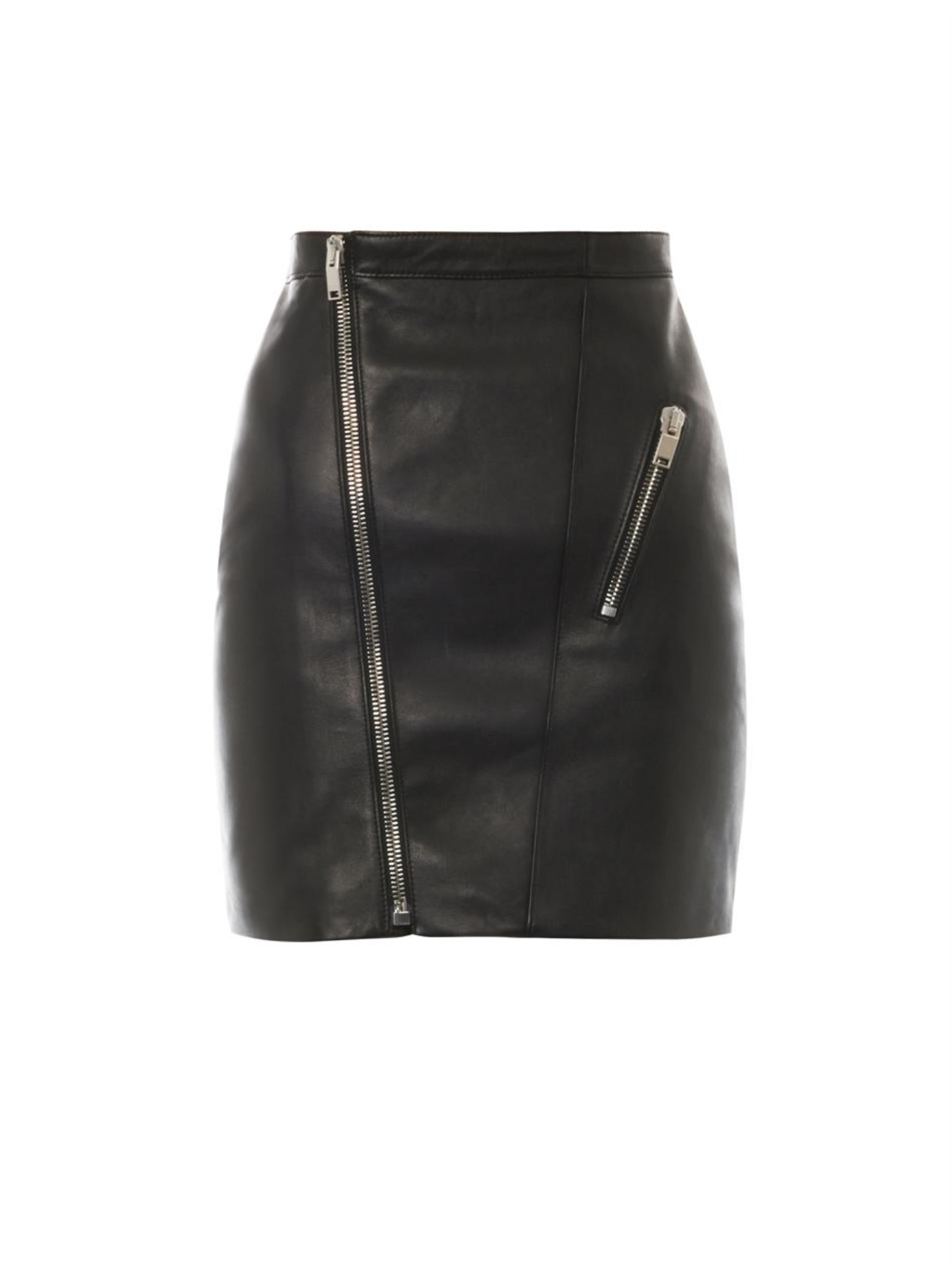 Saint laurent Zip-Front Leather Skirt in Black | Lyst
