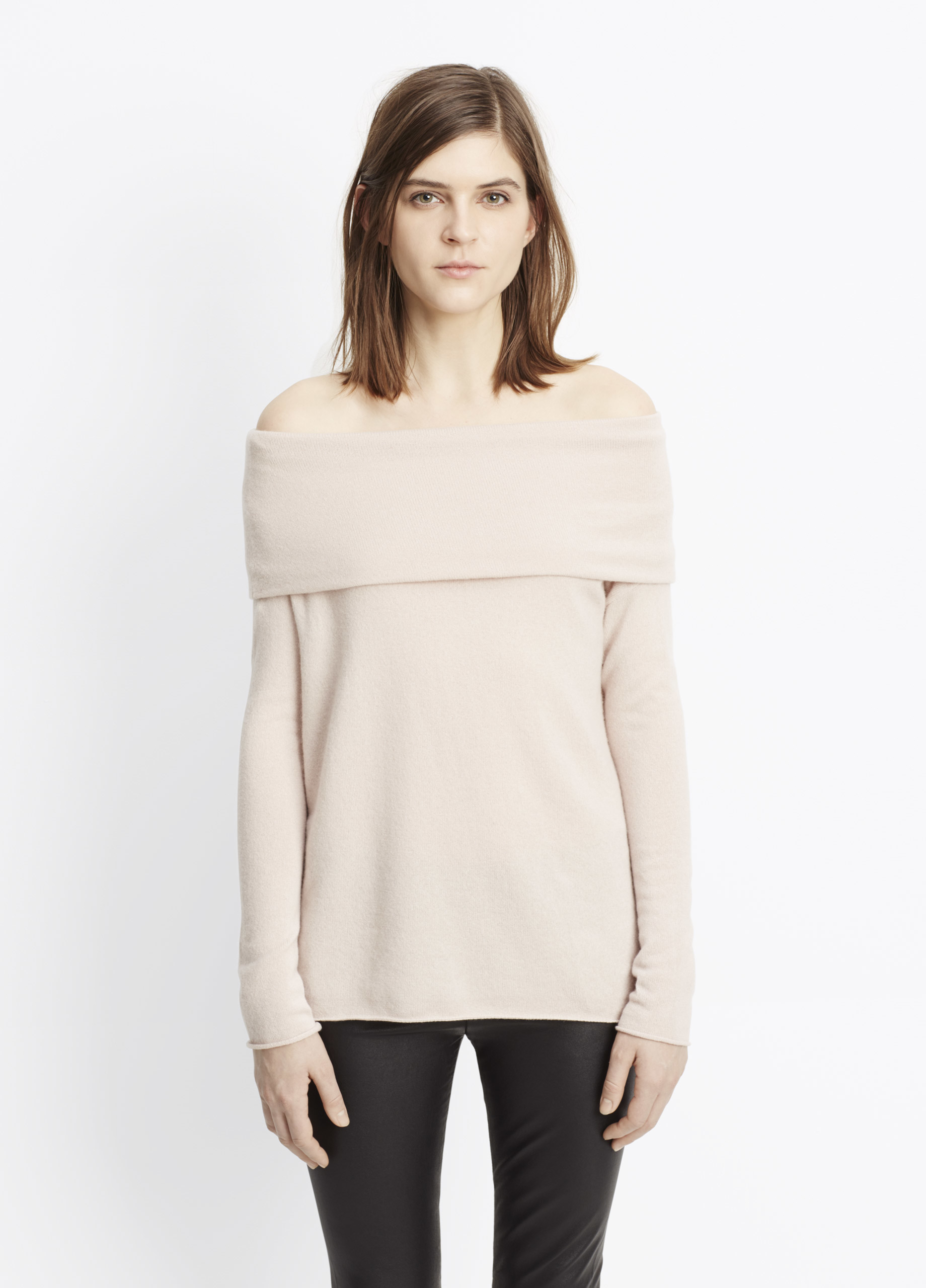 Vince Cashmere Off-the-shoulder Relaxed Pullover Sweater in ...