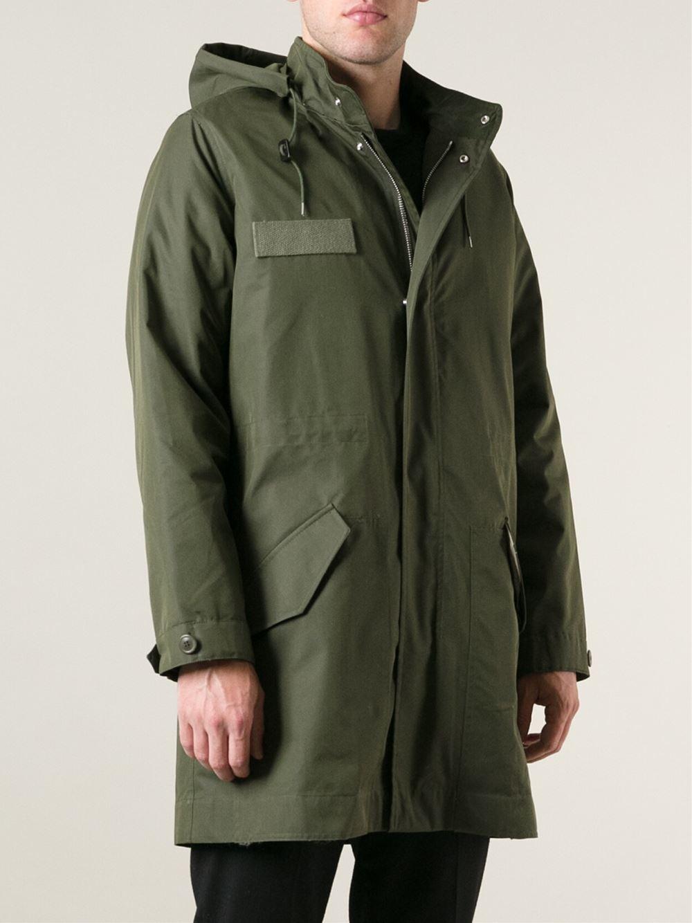 A.p.c. Light Parka Coat in Green for Men | Lyst