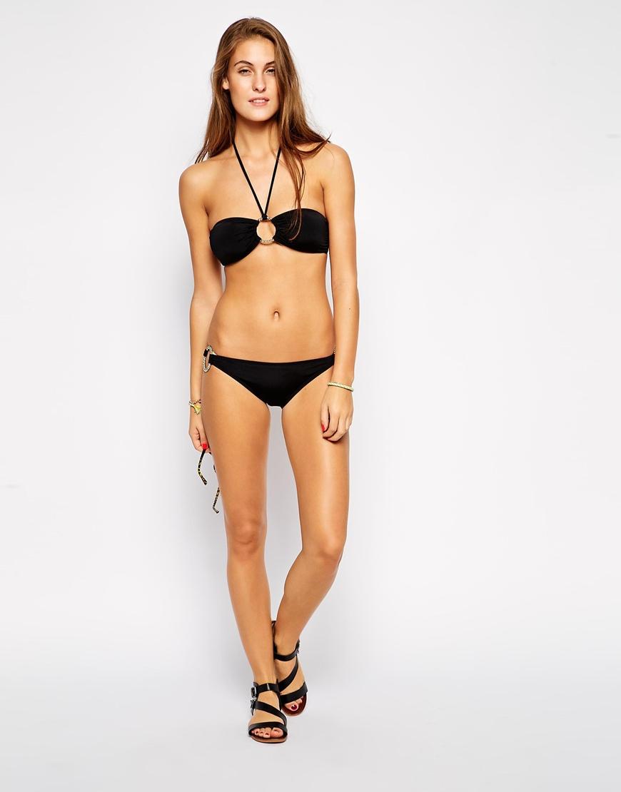 779fecb014891 Lyst - Mileti Bandeau Bikini Top With Gold Ring in Black