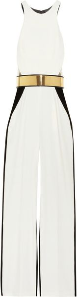 Stella Mccartney Anna Stretch Cady and Velvet Jumpsuit in White