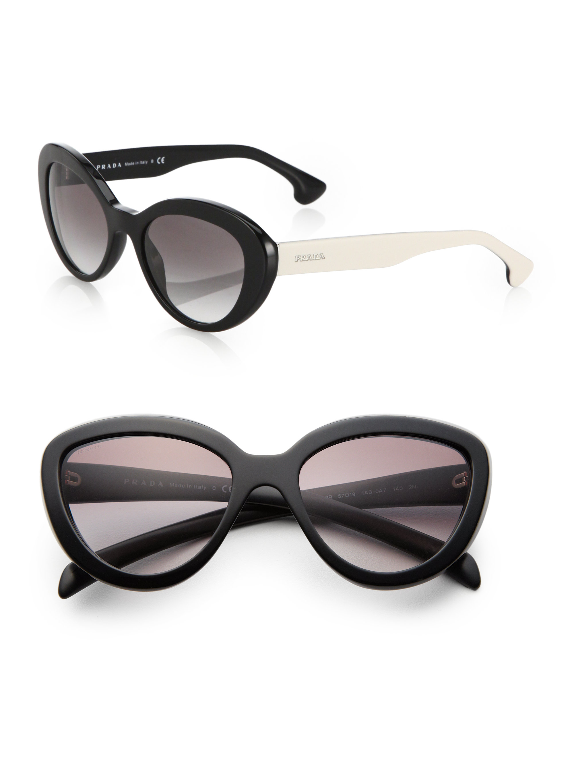 88233067183 Prada 53 Mm Cat  39 s-eye Sunglasses in Black