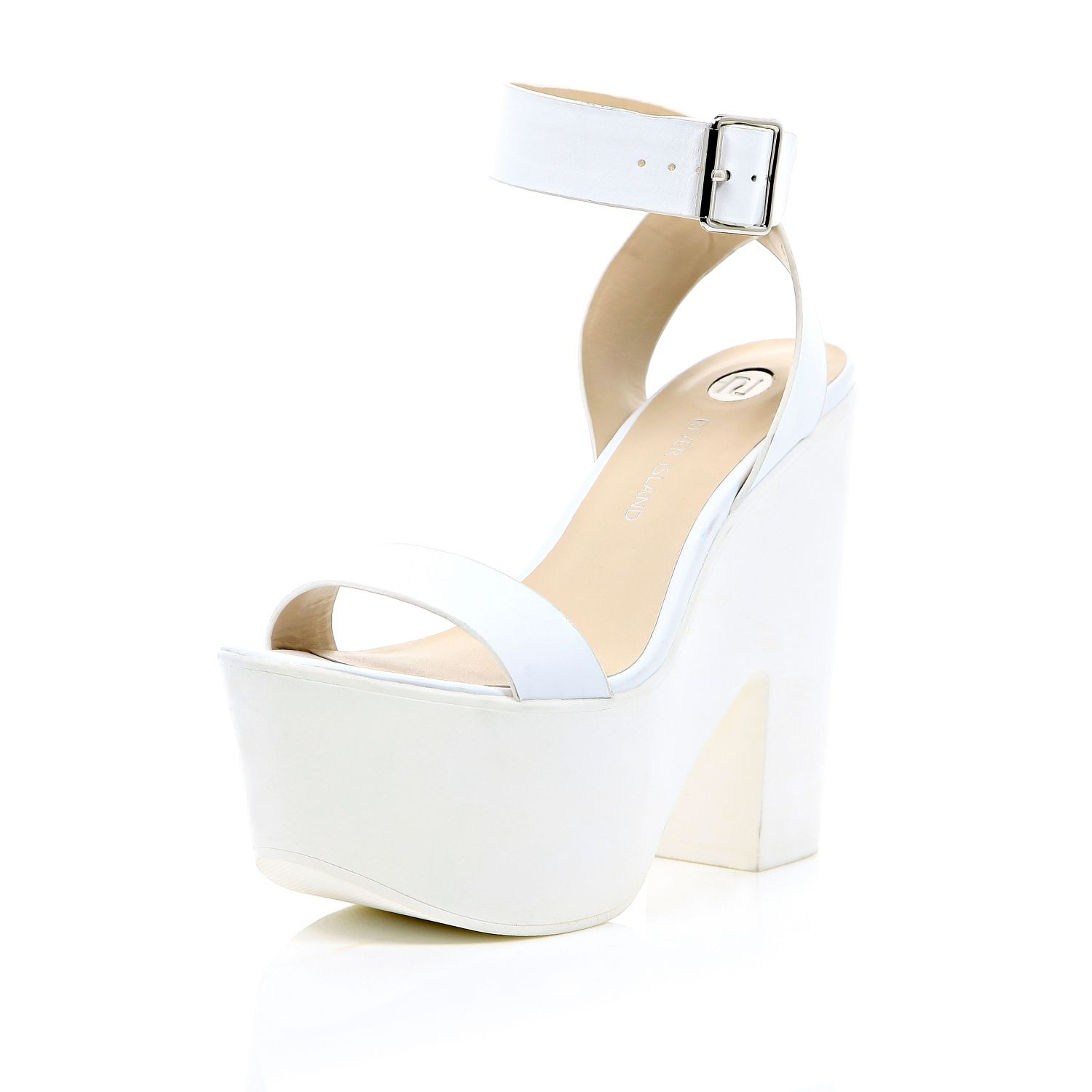 f535e04fb5d8 River Island White Chunky Ankle Strap Platform Heels in White - Lyst