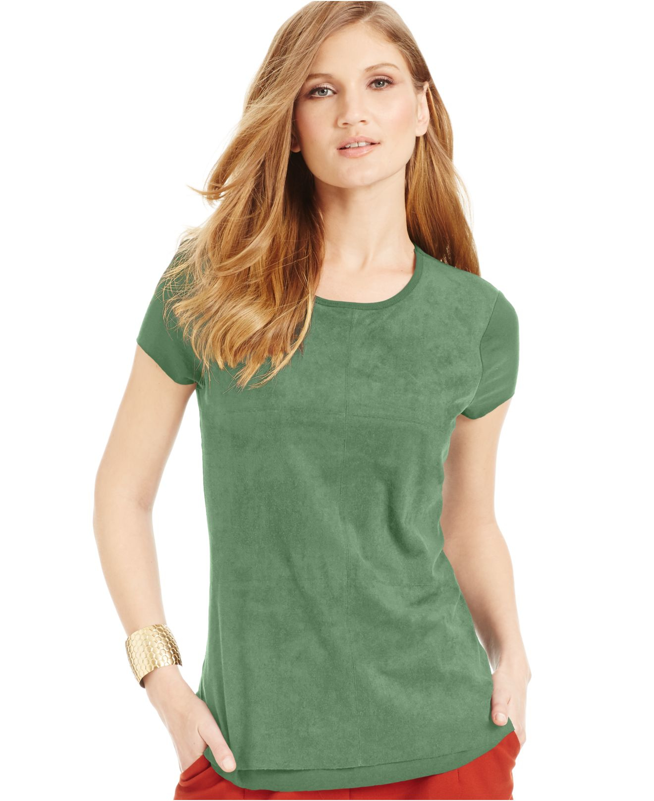 Vince camuto faux suede t shirt in green lyst for Vince tee shirts sale