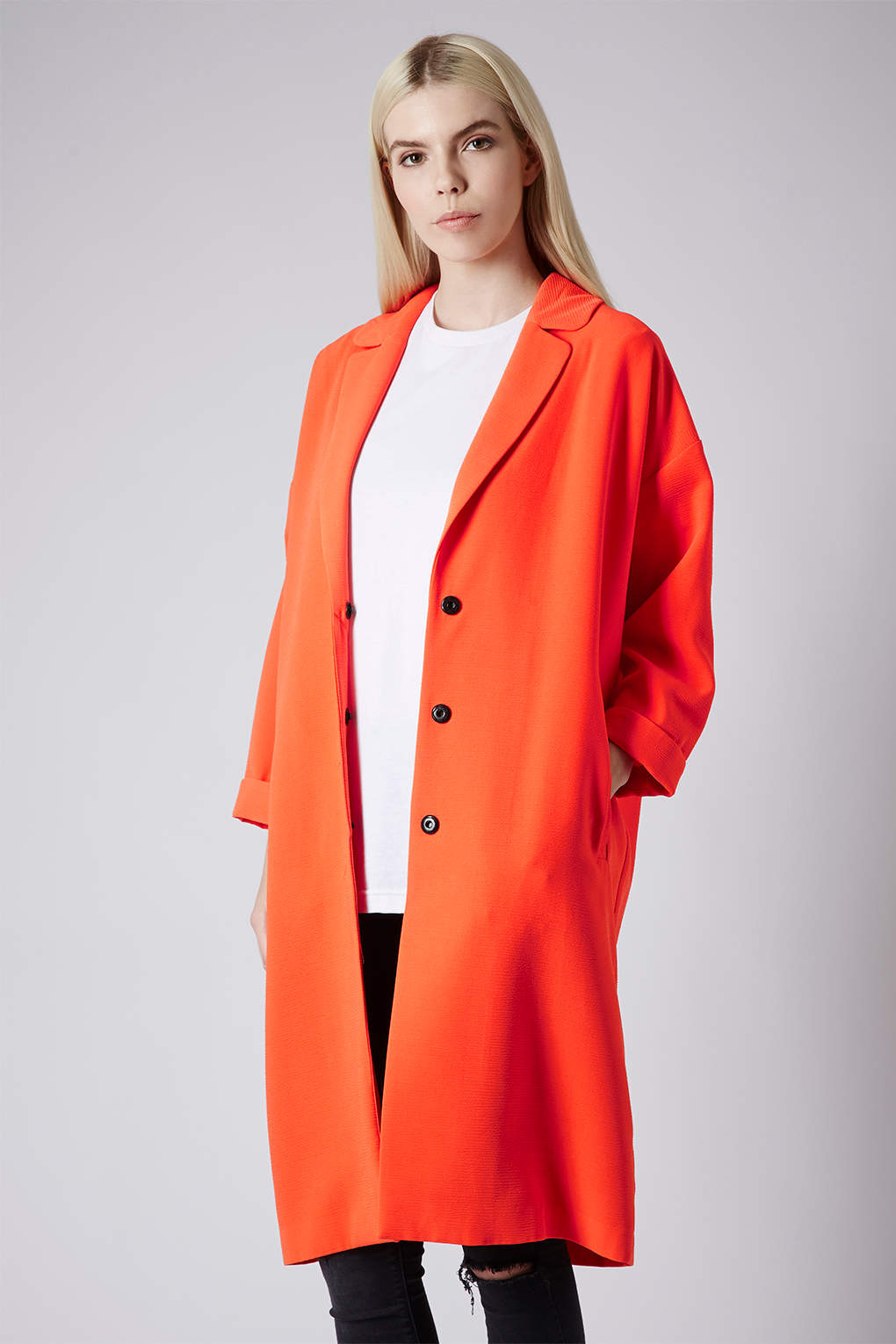lyst topshop long line duster coat in orange. Black Bedroom Furniture Sets. Home Design Ideas