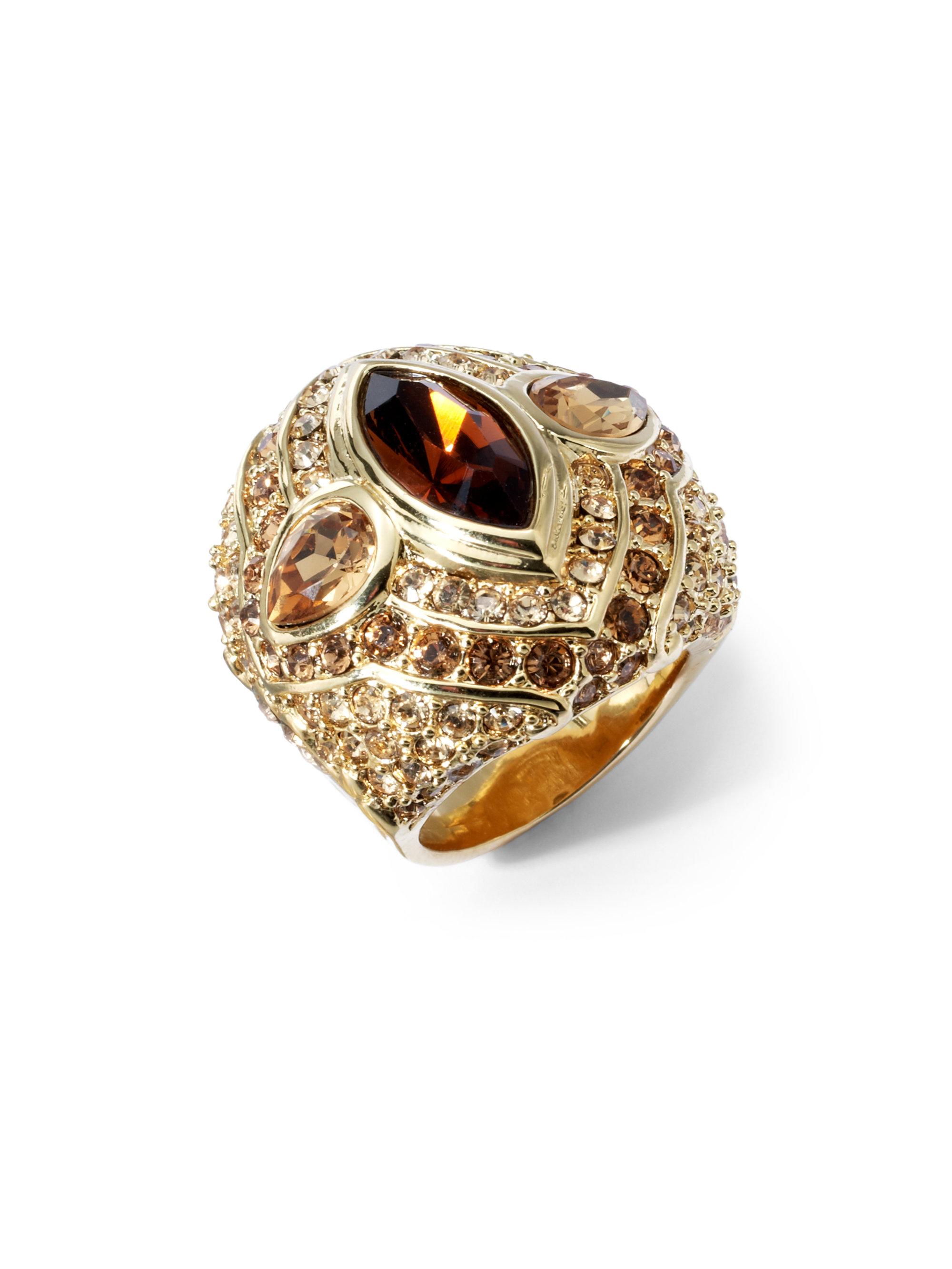 judith leiber swarovski maharishi ring in metallic