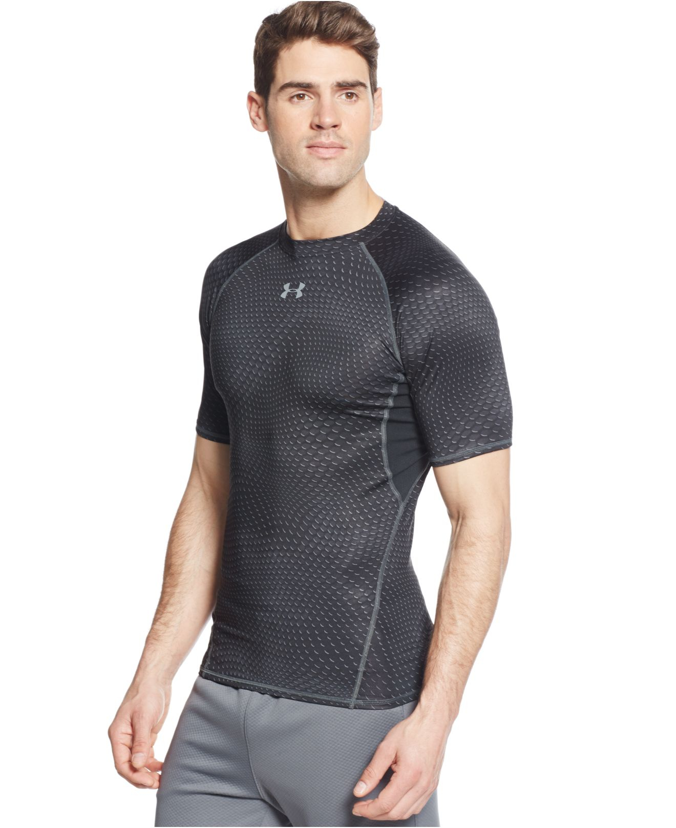 Lyst - Under Armour Printed Heatgear Compression T-Shirt in Black ... 18b32cf4502c