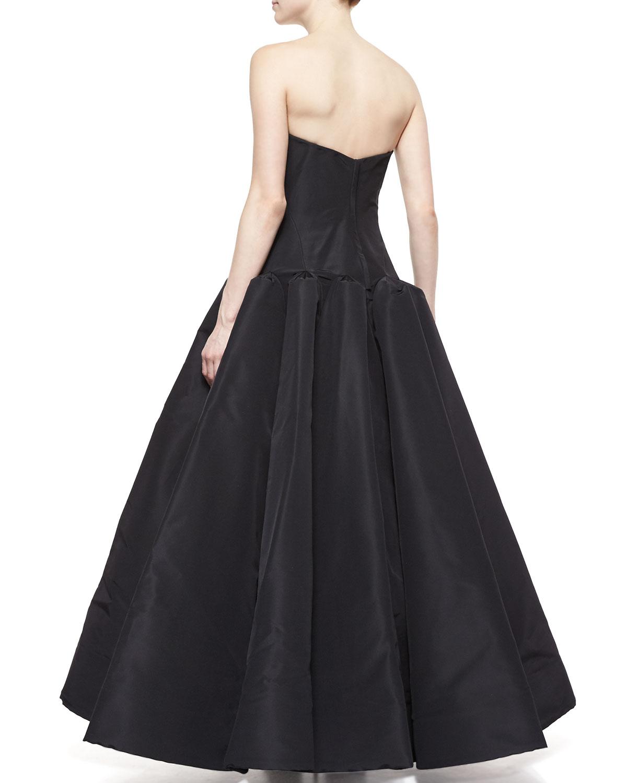 Zac posen Strapless Silk Ball Gown in Black | Lyst