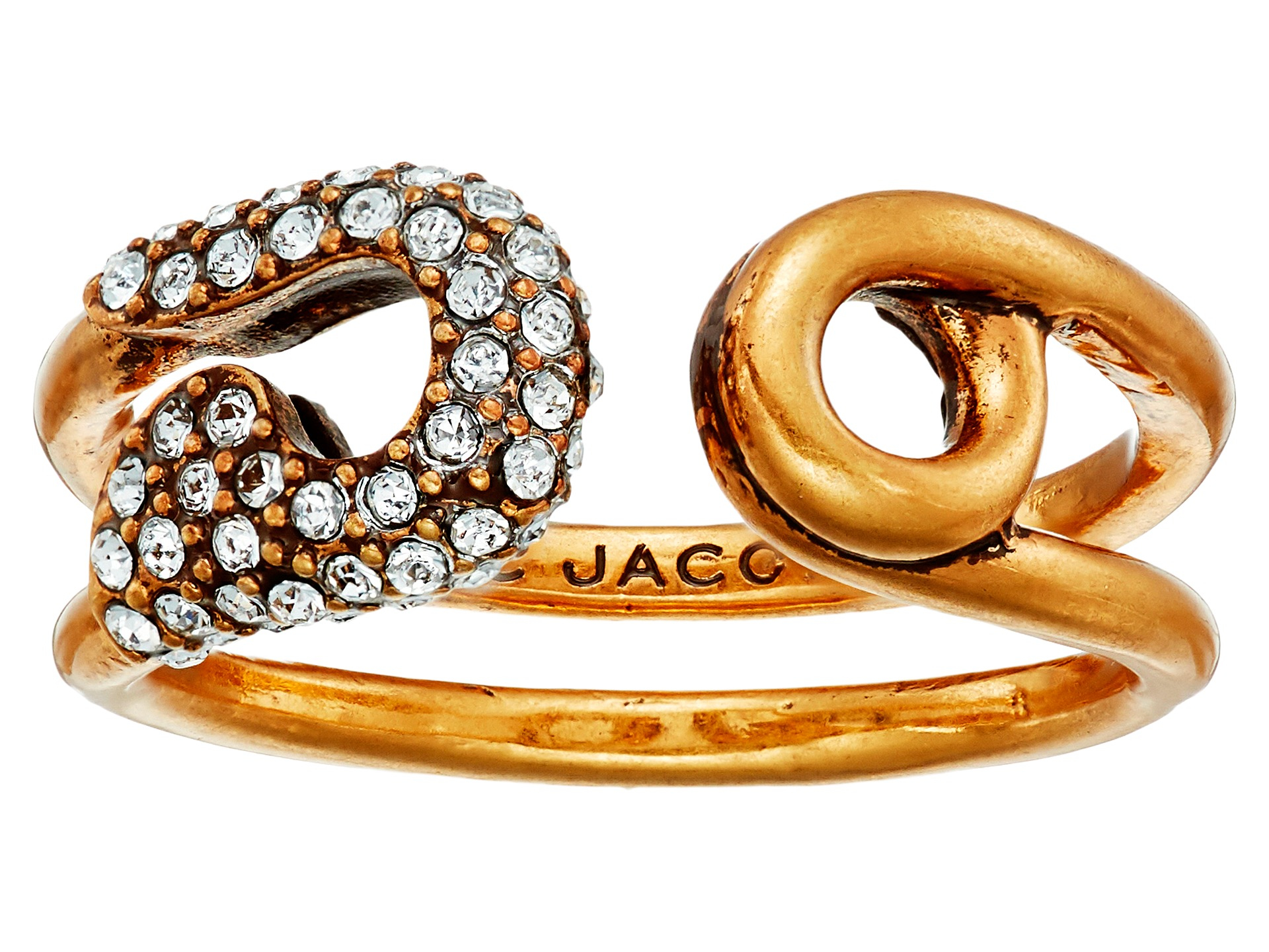 c26479953 Marc Jacobs Charms Pave Safety Pin Ring in Metallic - Lyst
