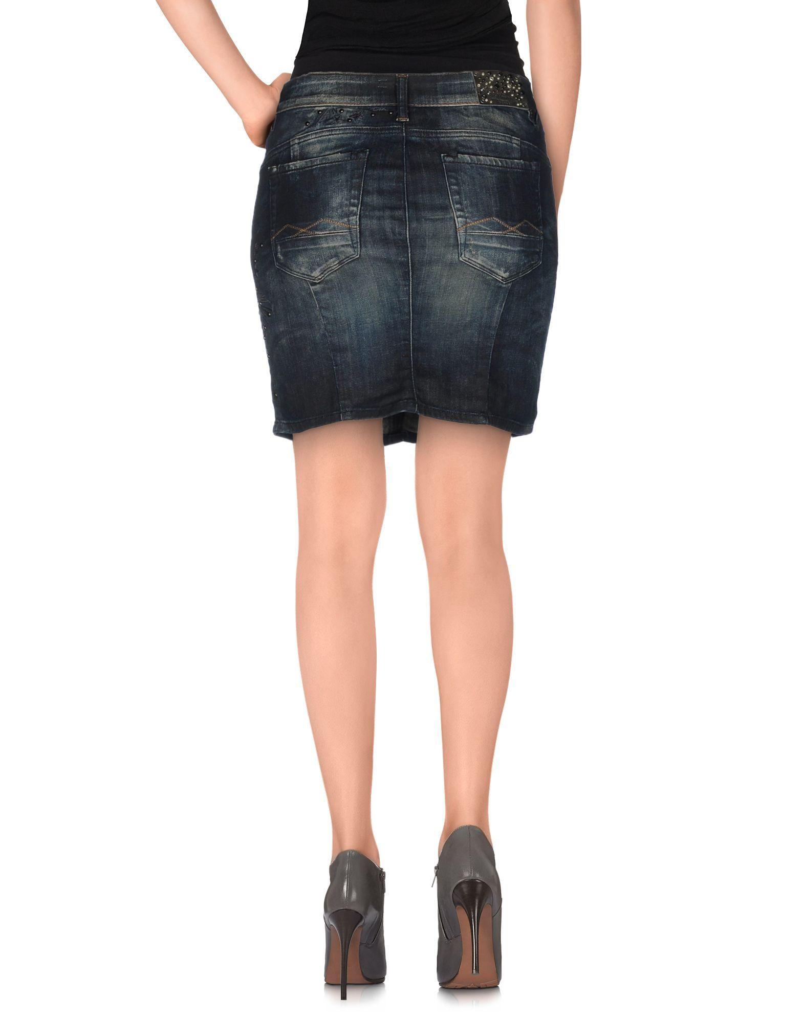replay denim skirt in blue lyst
