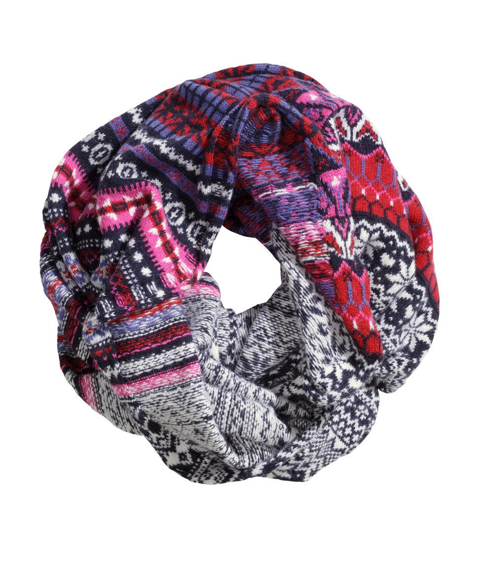 h m jacquard knit scarf lyst