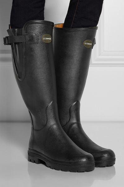 Le Chameau Vierzon Leatherlined Rubber Boots In Black Lyst